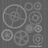 Background technology with gears Stock Photos