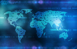 Background in technology and the world map Royalty Free Stock Photography