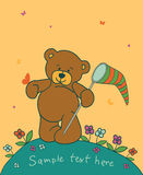 Background with teddy bear. Floral romantic background with teddy bear Stock Image