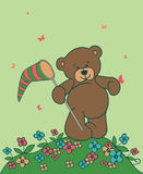 Background with teddy bear. Floral romantic background with teddy bear Royalty Free Stock Image