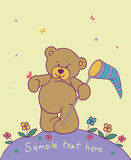 Background with teddy bear. Floral romantic background with teddy bear Royalty Free Stock Images