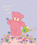 Background with teddy bear. Floral romantic background with teddy bear Royalty Free Stock Photo