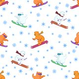 Background, teddy bears ski. Vector seamless background, teddy bears ski on a snowboard and skis Stock Photo