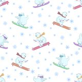 Background, teddy bears ski. Seamless background, polar teddy bears ski on a snowboard and skis Royalty Free Stock Photos