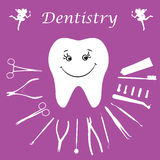 Background, teeth, dental instruments, dental care. Royalty Free Stock Image