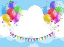Background template with balloons and flags in the sky. Illustration royalty free illustration