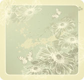 Background template with blooming daisies and butt. Erflies hand-drawing. Vector Royalty Free Stock Photo