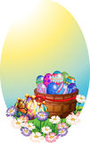Background template with easter eggs in basket. Illustration Royalty Free Stock Photos