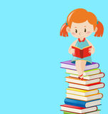 Background template with girl reading books. Illustration Royalty Free Stock Photos