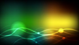 Background template with green and yellow wavy lines Royalty Free Stock Photography