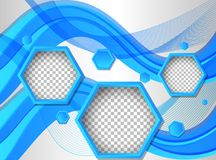 Background template with hexagon shapes in blue. Illustration stock illustration