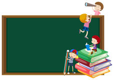 Background template with kids and blackboard Stock Image