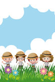 Background template with kids in safari outfit Royalty Free Stock Photos