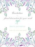 Background, template postcard with the abstract watercolor blue and purple leaves and branches and berries, hand drawn in a pastel Royalty Free Stock Image