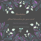 Background, template postcard with the abstract watercolor blue and purple leaves and branches and berries, hand drawn in a pastel Stock Image