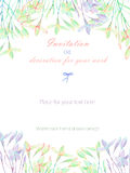 Background, template postcard with the abstract watercolor purple, pink and yellow wildflowers. Hand drawn on a white background, background for your card and Stock Photo