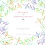 Background, template postcard with the abstract watercolor purple, pink and yellow wildflowers. Hand drawn on a white background, background for your card and Royalty Free Stock Image