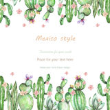 Background, template postcard with the cactuses and tender flowers, hand drawn on a white background stock illustration