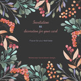 Background, template postcard with a floral ornament of the watercolor green branches and red berries, hand drawn in a pastel Royalty Free Stock Photo