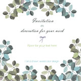 Background, template postcard with a floral ornament of the watercolor grey and dark blue leaves and branches Royalty Free Stock Photos
