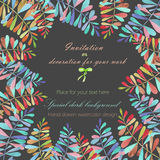 Background, template postcard with a floral ornament of the watercolor multicolored leaves and branches, hand drawn in a pastel Royalty Free Stock Photos