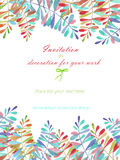 Background, template postcard with a floral ornament of the watercolor multicolored leaves and branches, hand drawn in a pastel Royalty Free Stock Photography