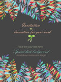 Background, template postcard with a floral ornament of the watercolor multicolored leaves and branches, hand drawn in a pastel Stock Image