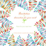 Background, template postcard with a floral ornament of the watercolor multicolored leaves and branches, hand drawn in a pastel Stock Photos