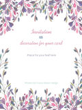 Background, template postcard with a floral ornament of the watercolor pink and purple leaves and branches, hand drawn in a pastel Stock Images