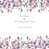 Background, template postcard with a floral ornament of the watercolor pink and purple leaves and branches, hand drawn in a pastel Stock Photography