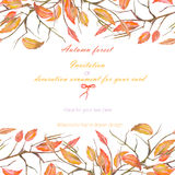 Background, template postcard with a floral ornament of the watercolor red autumn leaves Stock Photo