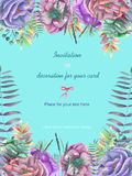 Background, template postcard with the watercolor anemone flowers, fern and branches hand drawn on a turquoise background. Background for your card and work Royalty Free Stock Photo