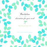 Background, template postcard with the watercolor blue and mint leaves, hand drawn on a white background Royalty Free Stock Images