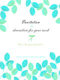 Background, template postcard with the watercolor blue and mint leaves, hand drawn on a white background Stock Photo