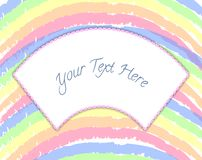 Background template in rainbows with frame for text/ message. vector illustration