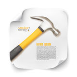 Background template with realistic hammer icon Royalty Free Stock Images