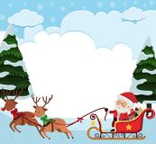 Background template with Santa riding sledge. Illustration Stock Image