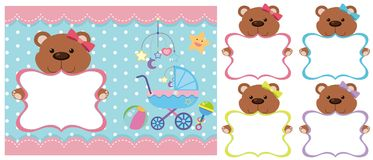 Background template with teddy bears. Illustration Stock Photography