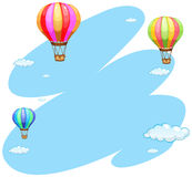 Background template with three balloons in sky. Illustration Royalty Free Stock Images