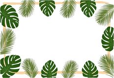 Background template in tropical leaves . stock illustration