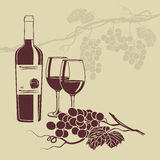 Background template for the wine menu. Template background for wine menu with a bottle of wine glasses and grapes Stock Photography