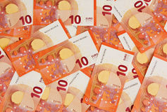 Background of ten euros notes Stock Photos