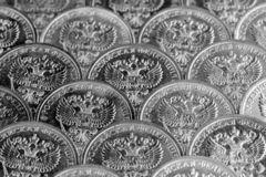 Background of ten ruble coins. Close up view. royalty free stock photography