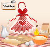 Background with test kitchen apron and eggs Royalty Free Stock Photos