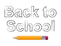 Background with text back to school and pencil. Stock Photo