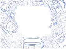 Background with text blue Time for tea - menu design. Doodle fra. Me with cups Breakfasts, brunches and lunch. Trend color 2018 little boy blue, backdrop for Royalty Free Stock Photography