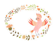Background for text with a decorative image of a parrot, flowers, plants, leaves and small circles. Stock Image