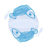Background for text with the fishes, ripples, splashes. Round light purple background for text with an image floating in a circle two blue fish, divergent Royalty Free Stock Photos