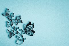 Background for text floral pattern and butterfly on blue background vector illustration