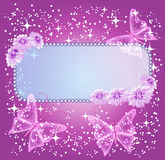 Background for text with flowers and butterfly Stock Photo
